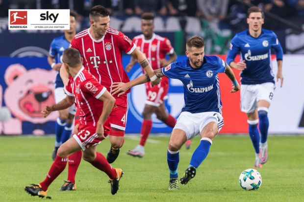 (L-R) Rafael Alcantara do Nascimento (Rafinha), of FC Bayern Munich Niklas Sule of FC Bayern Munich, Guido Burgstaller of FC Schalke 04 during the Bundesliga match between Schalke 04 and Bayern Munich on September 19, 2017 at the VELTINS-Arena in Gelsenkirchen, Germany(Photo by VI Images via Getty Images)